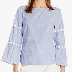 Nanette Lepore tiered pinstripe bell sleeve top